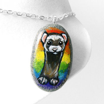 Ferret Necklace, Rainbow Pendant, Pet Painting, Portrait Jewelry, Memorial Gift, Hand Painted Rock, Beach Stone, Pet Loss