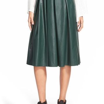 Women's Wayf Faux Leather Pleat Skirt,