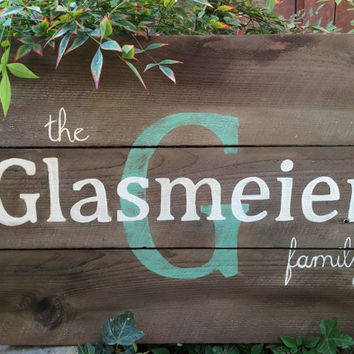 Rustic Last Name Family Name Blue Monogram Wood Sign, Wedding Date, Est. Date, Wedding Gift, Anniversary Gift