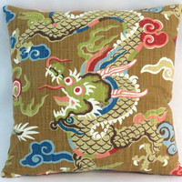 """Colorful Dragon Pillow, Asian / Oriental Decor, Gold Brown Blue Red Pink Green, 17"""" Square Cotton, Cover Only or Insert Included"""
