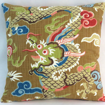 "Colorful Dragon Pillow, Asian / Oriental Decor, Gold Brown Blue Red Pink Green, 17"" Square Cotton, Cover Only or Insert Included"
