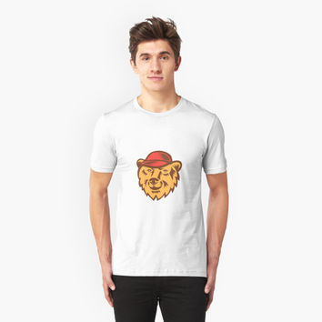 'Bear Head Wearing Hat Woodcut' T-Shirt by patrimonio