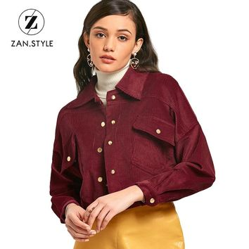 Trendy ZAN.STYLE Fashion Slim Cropped Corduroy Jacket Snap Button Up Pockets Turn Down Collar Short Coats Long Sleeves Casual Jaqueta AT_94_13