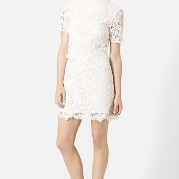 Women's Topshop Daisy Lace Overlay Sheath Dress