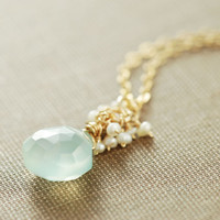 Aquamarine Blue March Birthstone Necklace, Seafoam Gemstone Pendant Necklace, Aqua Chalcedony Seed Pearl Necklace, Spring Jewelry