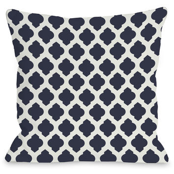 """Moroccan"" Indoor Throw Pillow by OneBellaCasa, Navy/Ivory, 16""x16"""