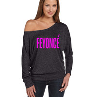 Feyonce Flowy Long-Sleeve Off Shoulder T-Shirt