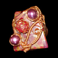 Freshwater Purple Pearls, Ruby Gemstones & Copper Wrap Ring Pentagram & Copper