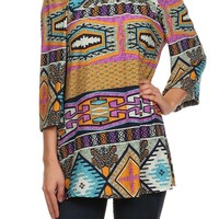 PRINTED, 3/4 LENGTH BELL SLEEVE TOP