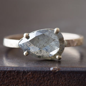 Natural Grey-Green Rose Cut Diamond Ring