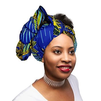"🎁 ONE DAY SALE - KENTE Extra Long 72""×22"" Headwrap ANKARA Dashiki African Print Tropical Head Wraps/Scarfs for Women - Blue, Brown and Yellow Headwrap Tie Hat - Ethnic Tribal"