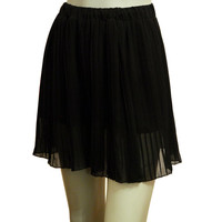 Short Black Pleated Chiffon Skirt, Vintage Mini Skirt, Retro Black Skirt, Light Skirt Small Size