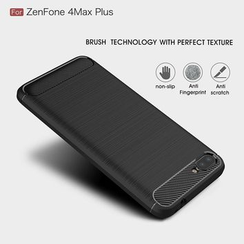 For ASUS Zenfone 4 Max Plus ZC554KL case Carbon Fiber TPU Protector Back Cover ASUS ZC554KL protective case Anti-Skid
