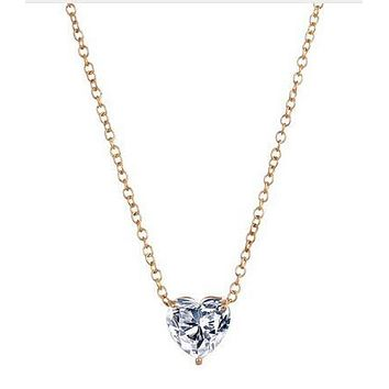 New Crystal Heart Necklace Pendant Female Short Gold Chain Necklace Pendant