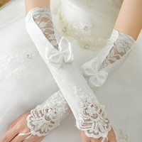 Fashion fingerless mitts lace embroidery satin wedding dress gloves bridal gloves wedding gloves accessories = 1932896964