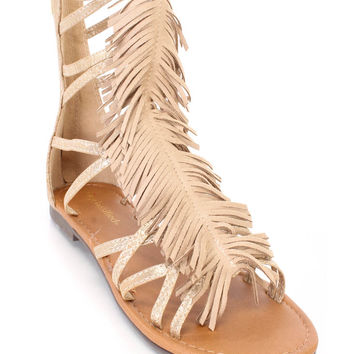 Oatmeal Fringe Strappy Gladiator Sandals Faux Leather