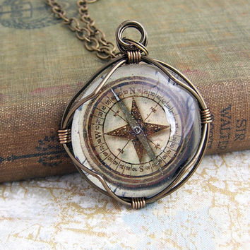 Compass Pendant of wire wrapped glass to by ElainaLouiseStudios