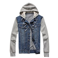 Fleece Hoodie Denim Men's Jacket