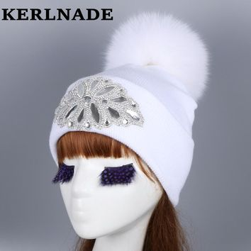 mink and fox fur ball cap pom poms winter hat for women girl 's wool hat knitted cotton beanies cap brand new thick female hats