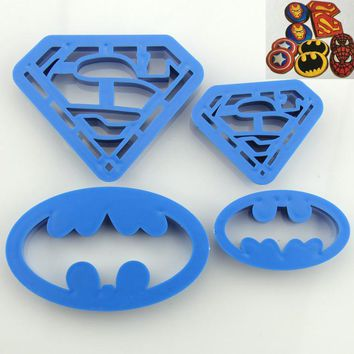 4pcs Batman Superman Fondant Cake Decorating Tools kitchen accessories cookie cutter cup cake papercake tool baking tools
