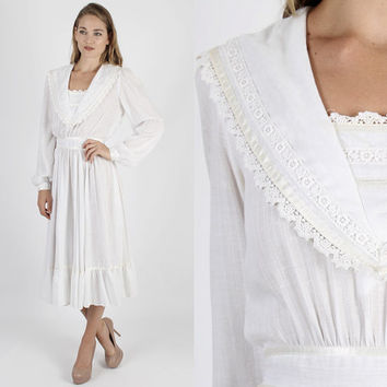 Gunne Sax Dress Prairie Dress Boho Dress Hippie Dress Jessica McClintock Dress Vintage 70s Boho Wedding White Sailor Lace Prairie Maxi