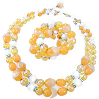 Multi Strand Necklace and Coil Wrap Bracelet Set Yellow and White w Rhinestones Signed Hobe