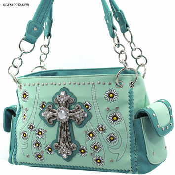 + WESTERN RHINESTONE HANDBAG CONCEALED CARRY PURSE In Mint