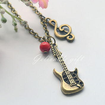 Music necklace,antique brass guitar,music note and red bead pendant  necklace NGT02