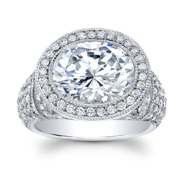 Women's 18k white gold antique engagement ring with 5 ct natural White Sapphire Oval and 1.75 carats of G color VS2 clarity diamonds