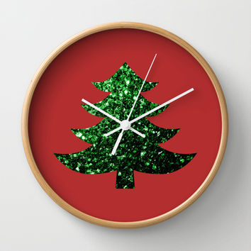 Christmas tree green sparkles Wall Clock by PLdesign