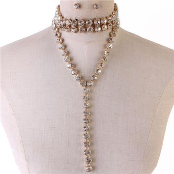 "12"" crystal layered necklace .25"" earrings bridal prom drag queen"