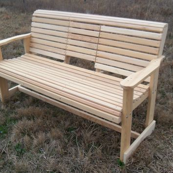 LA Swings Inc. 5ft Cypress Rollback Outdoor Bench with Flipdown Center Console - Lead Time 5-7 Business Days