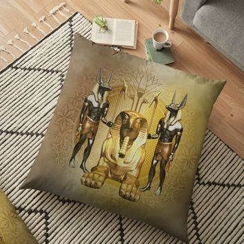 'Anubis the egyptian god, gold and black' Floor Pillow by nicky2342