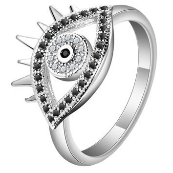 Vintage Turkish Women Rings Fashion Ancient Silver Color Jewelry Black Crystal Cute Evil Eye Shap Rings for Women Jewelry