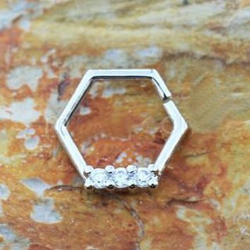 316L Stainless Steel Multi Jeweled Hexagon Captive Bead Ring / Cartilage Earring