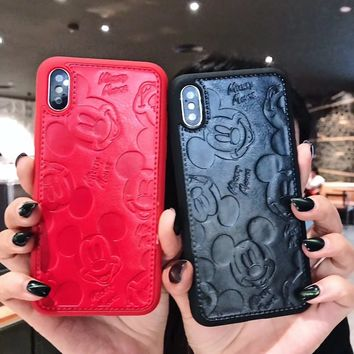 High Quality PU Leather Lovely Pink Panther Case For iPhone X 6 6s 7 8 Plus Cute Mickey Minnie Mouse Soft Phone Cases Back Cover