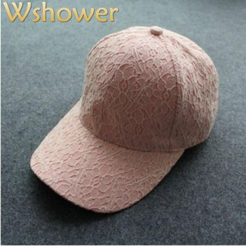 Which in shower Pink White Black Lace Baseball Women Cap Breathable Summer Snapback Sun Hat Fashion 6 Panel Lady Fitted Bone