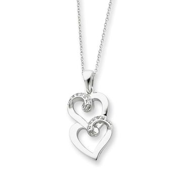 Sterling Silver & CZ Sisters, Friends Forever, Heart Necklace, 18 Inch