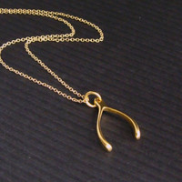 24k Gold Wishbone Necklace - Gift for her, BFF, Friend, Sister, Mom, Girlfriend, Teacher Gift, Graduation Gift