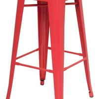 Metropolis Metal Backless Bar Stool, Red (Set of 4)