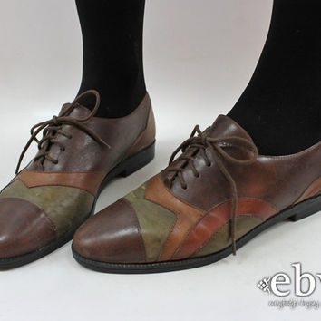 Lace Up Oxfords Brown Leather Oxfords Leather Patchwork Shoes Leather Flats Brown Leather Flats 8 Spectator Shoes Brown Oxfords
