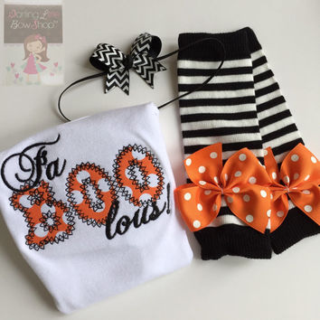 Baby Girl Outfit for Halloween -- Fa BOO lous -- Leg warmers, Bodysuit, headband -- black and orange polka dot with black chevron