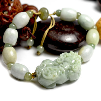 Auspicious Chinese Pi Shou Fortune Tiger Carved Jade Bracelet 7 inches - Fortune Feng Shui Jewelry