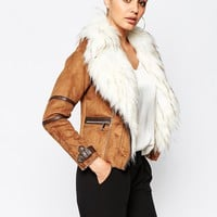 River Island Suedette Biker Jacket With Faux Fur Collar
