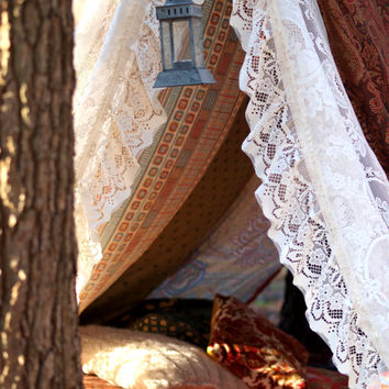 Boho meditation vintage Gypsy patchwork lace tent TeePee photo prop play tent