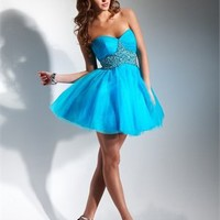 Sweetheart Empire Waist Knee Length Organza Prom Dress PD0151