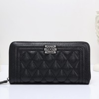 """""""Chanel"""" Women Purse Fashion Quilted Multifunction Long Section Zip Wallet Clutch"""