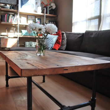 "Wood Coffee table with steel pipe legs made of reclaimed wood, Standard 1.65"" top, 18"" tall x 36"" L x 36"" w"