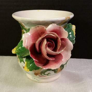 Italian Short Pottery Vase Vintage 3D Pink Rose Hand Painted Pottery Vase Marked Italy Shabby Chic Cottage Décor Hand Modelled Flower Leaves