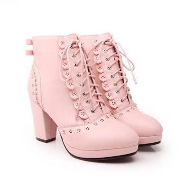 LMFUX5 Lovely lace up solid color high heels boots